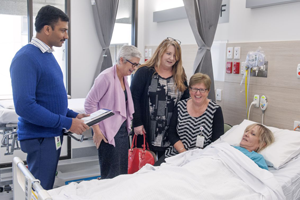 People visiting a hospital patient