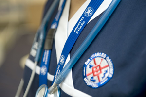 Close up of the SCGH badge on a uniform