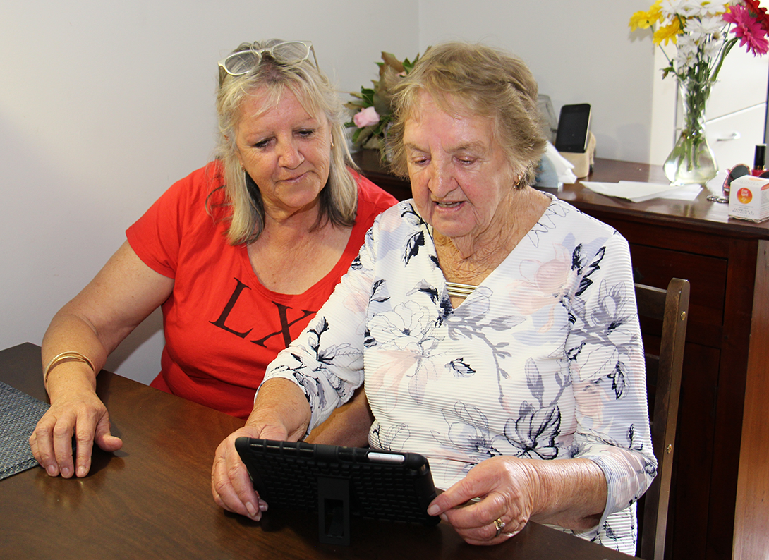 Shirley receiving treatment via telehealth from Sir Charles Gairdner Hospital